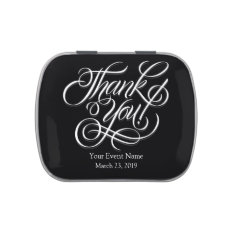 Black & White Thank You Party Favor Wedding Jelly Belly Candy Tins at Zazzle