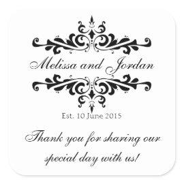 Black White Thank You Sticker for Wedding Favors