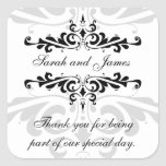 Black White Thank You Wedding Favor Stickers