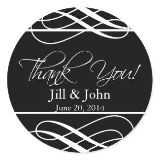Black White Thank You Wedding Favour Label Sticker sticker