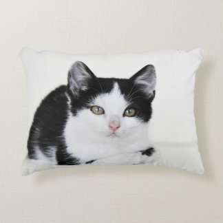 Black White Thoughtful Kitten Accent Pillow