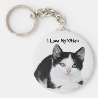 Black White Thoughtful Kitten Keychains