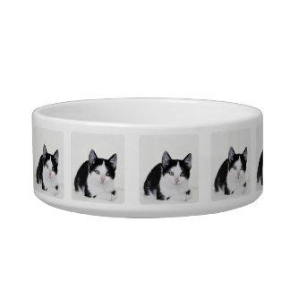Black White Thoughtful Kitten Pet Bowl