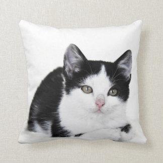 Black White Thoughtful Kitten Throw Pillow