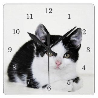 Black White Thoughtful Kitten Wall Clock