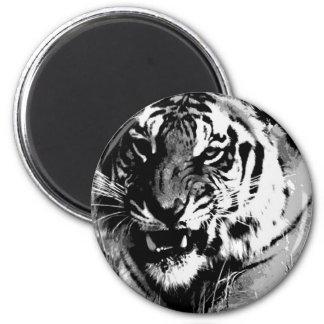 Black & White Tiger 2 Inch Round Magnet