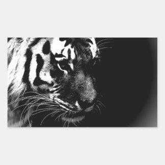 Black White Tiger Art Photo Rectangular Sticker