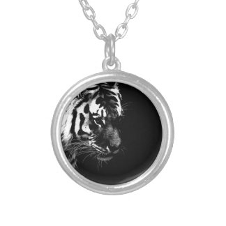 Black White Tiger Art Photo Silver Plated Necklace