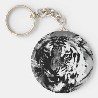 Black & White Tiger Basic Round Button Keychain