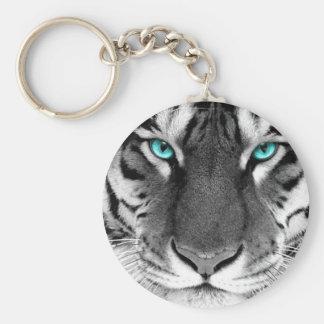Black White Tiger Basic Round Button Keychain