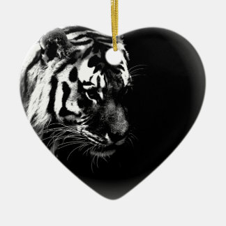 Black & White Tiger Ceramic Ornament