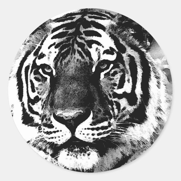 Black & White Tiger Classic Round Sticker