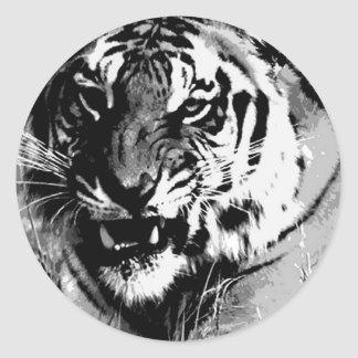 Black & White Tiger Classic Round Sticker