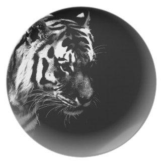 Black & White Tiger Dinner Plate