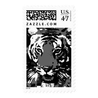 Black & White Tiger Eyes Pop Art Postage