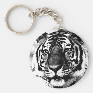 Black & White Tiger Keychain