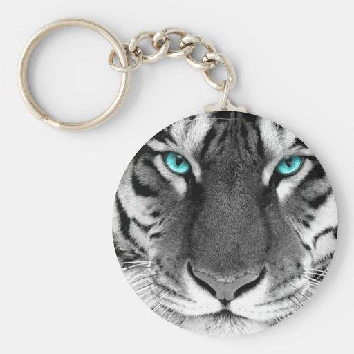 Black White Tiger Keychain