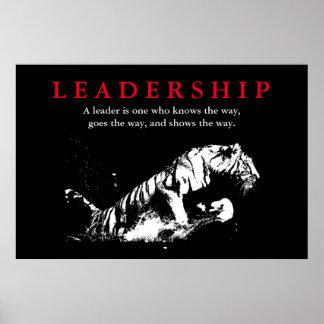 Black White Tiger Leadership Motivational Poster