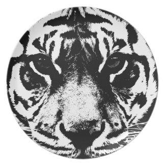 Black & White Tiger Melamine Plate