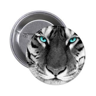 Black White Tiger Pinback Button