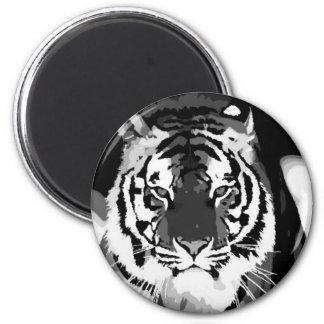Black & White Tiger Pop Art 2 Inch Round Magnet