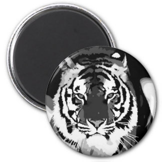 Black & White Tiger Pop Art Magnets