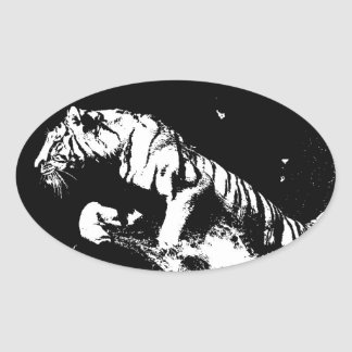 Black & White Tiger Oval Sticker