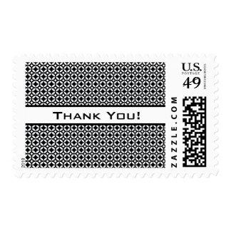 Black & White Tiling Retro Pattern, Thank You Postage