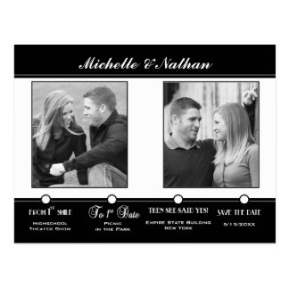 Black White Timeline Save the Date Photo Postcard