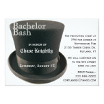"Black & White Top Hat Bachelor Party Invitation 5"" X 7"" Invitation Card"