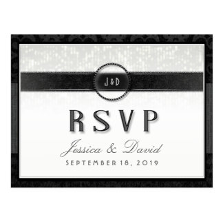 Black White & Touch  of Gold RSVP Meal Selections Postcard