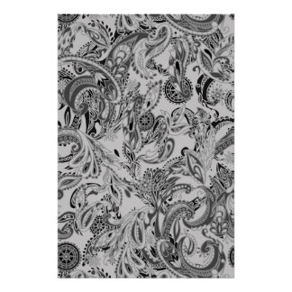 Black white traditional paisley floral pattern poster
