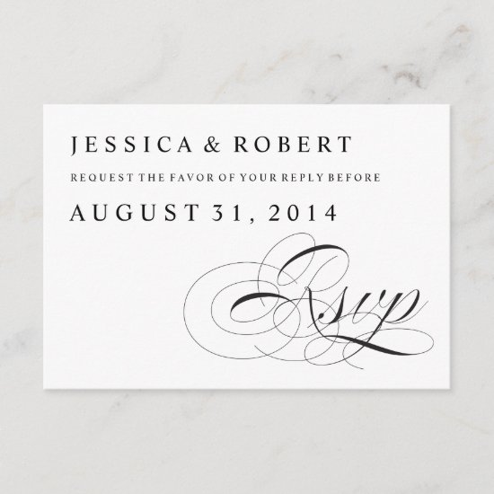 Black & White Traditional Wedding RSVP Card