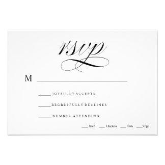 Black White Traditional Wedding RSVP Card