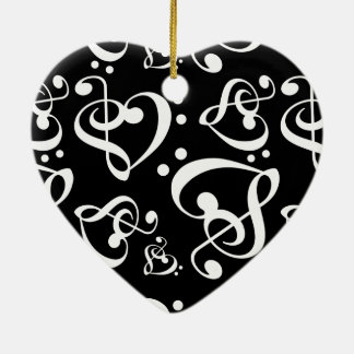 Black White Treble Bass Clef Heart Music Christmas Ceramic Ornament