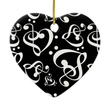 Valentines Themed Black White Treble Bass Clef Heart Music Christmas Ceramic Ornament