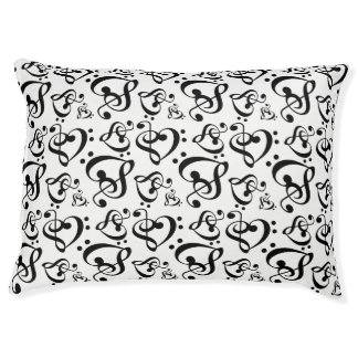 Black White Treble Clef Heart Music Notes Pattern Pet Bed