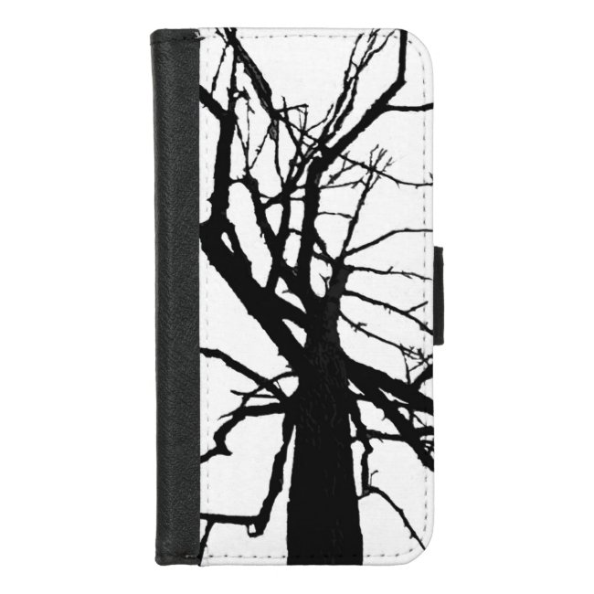 Black White Tree Abstract iPhone 8/7 Wallet Case