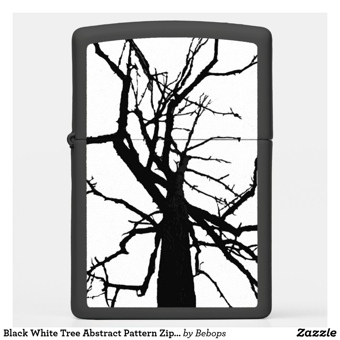 Black White Tree Abstract Pattern Zippo Lighter