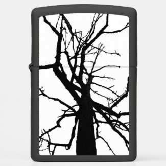 Black White Tree Abstract Pattern Zippo Lighter