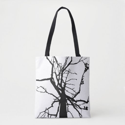 Black White Tree Branches Abstract Tote Bag