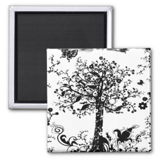 Black & White Tree Butterfly Silhouette 2 Inch Square Magnet