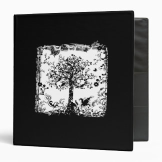 Black & White Tree Butterfly Silhouette Binder