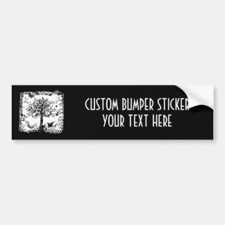 Black & White Tree Butterfly Silhouette Car Bumper Sticker
