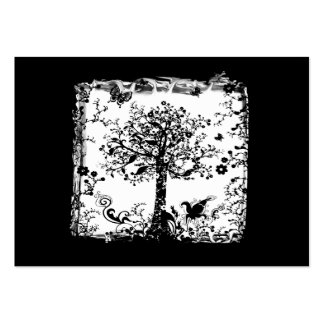 Black & White Tree Butterfly Silhouette Large Business Cards (Pack Of 100)