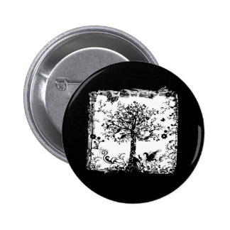 Black White Tree Butterfly Silhouette Pin