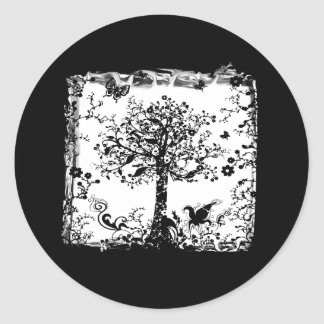 Black & White Tree Butterfly Silhouette Classic Round Sticker