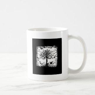Black & White Tree Butterfly Silhouette Coffee Mug