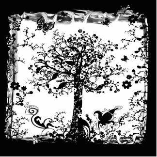 Black & White Tree Butterfly Silhouette Cutout