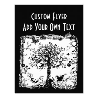 Black & White Tree Butterfly Silhouette Flyer